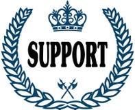 Guarnizione blu degli allori con il testo di SOSTEGNO Immagine Stock Libera da Diritti