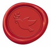 Guarnizione della cera del segno della colomba di pace Fotografia Stock Libera da Diritti