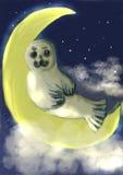 Guarnizione della pittura di CG sulla luna Fotografia Stock Libera da Diritti