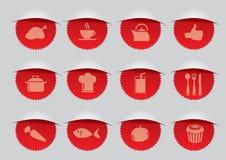Guarnizione rossa con l'illustrazione di vettore delle icone di F&B Immagine Stock Libera da Diritti