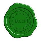 Guarnizione rotonda della cera di HACCP verde su fondo bianco Fotografia Stock Libera da Diritti
