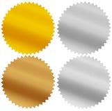Guarnizioni dell'oro, dell'argento, del bronzo e del platino, premi, starbursts Fotografia Stock