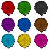 Guarnizioni della cera colorate segno reale Fotografia Stock