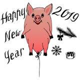 Guarro - globo que vuela y letras celebradoras 2019 con los elementos para el diseño de tarjetas del Año Nuevo y del invierno, in stock de ilustración