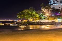 Guaruja, plage des Asturies la nuit Photo libre de droits