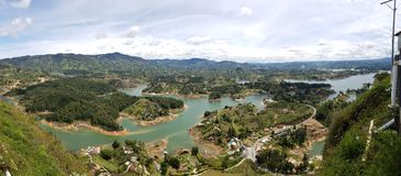 Guatape Colombia. Islands lake south America landscape nature color Royalty Free Stock Photo