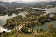 The guatape lake seen from above Royalty Free Stock Photos