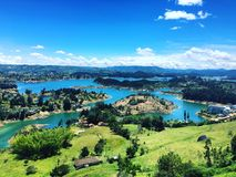 Guatape lakes in Colombia. Scenic landscape of Guatape town lakes on outskirts of Medellin, Colombia royalty free stock image