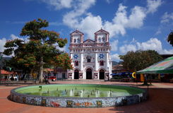 Guatape town square. Guatapes town square and church Stock Photo