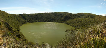 Guatavita volcanic lake, Cundinamarca, Colombia. It was the sacred lake and center of the rites of the Indians Muiscas (Chibcha). Cundimarca province, Andes royalty free stock photo
