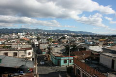 Guatemala City 01. Panoramic view from Zona 8 (Zone 8). Behind these houses you see the modern Guatemala City, capital of Guatemala in Central America; with Royalty Free Stock Photos