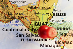 Guatemala city red pin on it Stock Photos