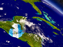 Guatemala with embedded flag on Earth Stock Photography