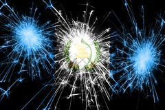 Guatemala fireworks sparkling flag. New Year, Christmas and National day concept.  royalty free illustration