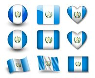 The Guatemala flag. Set of icons and flags. glossy and matte on a white background Stock Photos