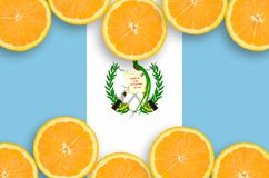 Guatemala flag in citrus fruit slices horizontal frame. Guatemala flag in horizontal frame of orange citrus fruit slices. Concept of growing as well as import vector illustration