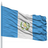 Guatemala Flag on Flagpole. Flying in the Wind, Isolated on White Background royalty free stock image