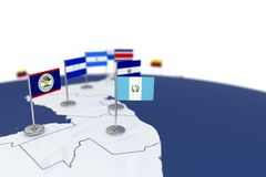 Guatemala flag. Country flag with chrome flagpole on the world map with neighbors countries borders. 3d illustration rendering flag Stock Images