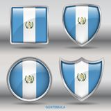 Guatemala Flag in 4 shapes collection with clipping path royalty free stock image