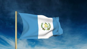 Guatemala flag slider style. Waving in the win stock footage