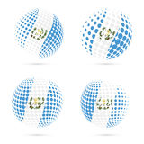 Guatemala halftone flag set patriotic vector. Guatemala halftone flag set patriotic vector design. 3D halftone sphere in Guatemala national flag colors isolated Royalty Free Stock Image