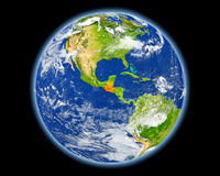 Guatemala i rött från utrymme Arkivfoton