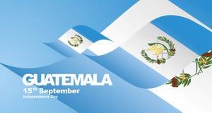 Guatemala Independence Day flag ribbon landscape background. National symbol landmark banner vector stock illustration