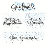 Guatemala Independence Day quotes. Set of hand written calligraphic Spanish lettering quotes for Guatemala Independence Day with stars, confetti, in flag colors Royalty Free Stock Images