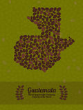 Guatemala map made of roasted coffee beans. Vector illustration. Map of Guatemala made out of coffee beans. Raw green coffee beans background. Coffee beans Royalty Free Illustration