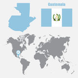 Guatemala map on a world map with flag and map pointer. Vector illustration Royalty Free Stock Photography