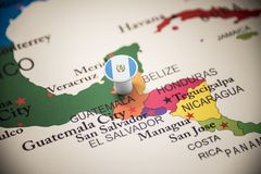 Guatemala marked with a flag on the map.  stock photos