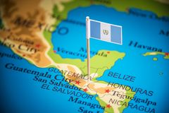 Guatemala marked with a flag on the map.  stock images