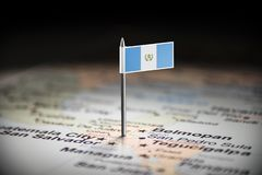 Guatemala marked with a flag on the map.  stock photography