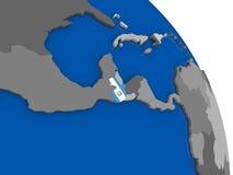 Guatemala och dess flagga på jordklotet Arkivfoto