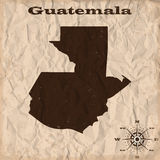 Guatemala old map with grunge and crumpled paper. Vector illustration Stock Photography