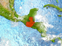 Guatemala på översikt med moln Arkivfoton