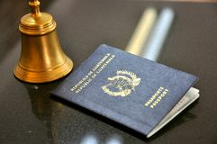 Guatemala passport in a hotel  Royalty Free Stock Images