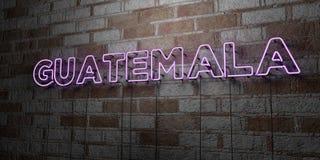 GUATEMALA - Señal de neón que brilla intensamente en la pared de la cantería - 3D rindió el ejemplo común libre de los derechos Fotos de archivo
