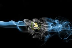 Guatemala smoke flag. On a black background royalty free stock photo