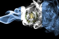 Guatemala smoke flag. Isolated on a black background royalty free stock photo