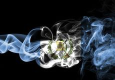 Guatemala smoke flag. Isolated on a black background royalty free stock photos