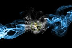 Guatemala smoke flag. Isolated on a black background stock photography