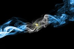 Guatemala smoke flag. Isolated on a black background royalty free stock photography