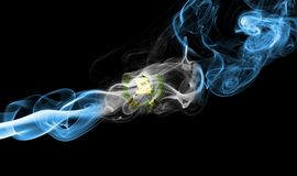 Guatemala smoke flag. Isolated on a black background royalty free stock images