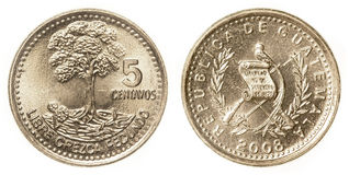 5 Guatemalaans centavosmuntstuk Stock Afbeelding