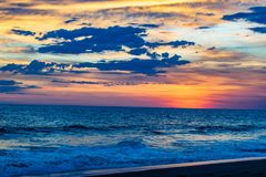 Guatemalaanse Strandzonsondergang stock afbeelding