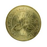 50 guatemalan centavo coin 2001 obverse. Isolated on white background stock photos