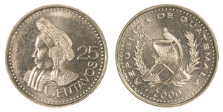 25 guatemalan centavos coin Royalty Free Stock Images
