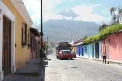 Guatemalan chicken bus. A Guatemalan chicken bus in Antigua Guatemala Royalty Free Stock Photos