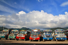 Guatemalan Chicken Busses. Chicken busses for public transportation in Guatemala Royalty Free Stock Photos